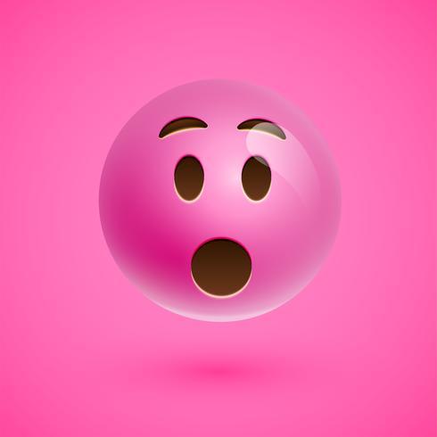 Visage souriant émoticône réaliste rose, illustration vectorielle