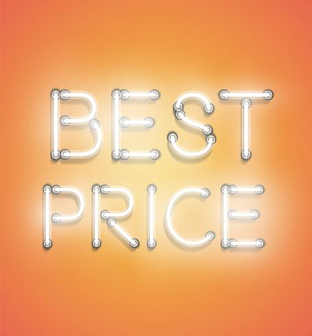 'BEST PRICE' - Realistic neon sign, vector illustration