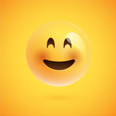 Realistische gele emoticon voor een gele achtergrond, vectorillustratie