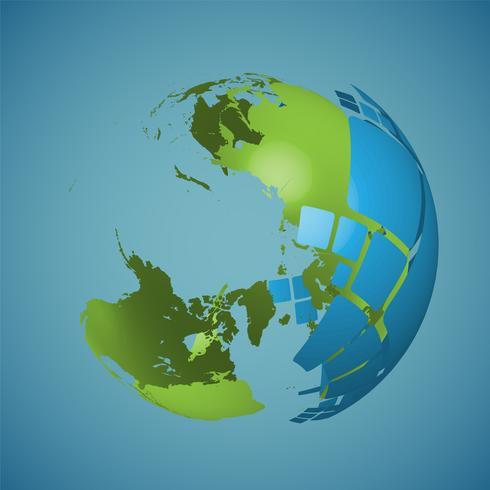Globo del mundo sobre un fondo azul, ilustración vectorial vector
