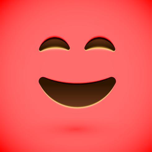 Rode realistische emoticon smileygezicht, vectorillustratie