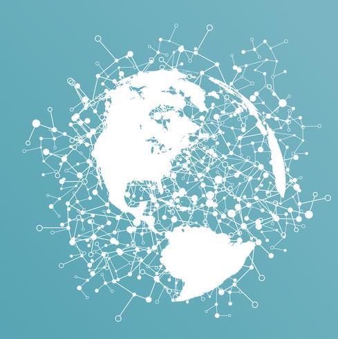 Mundo punteado con conexiones, ilustración vectorial