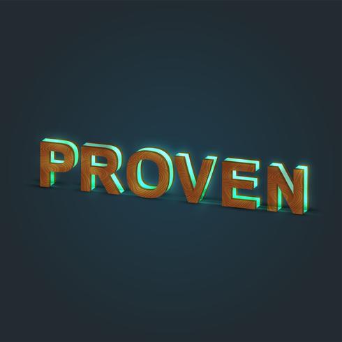 'PROVEN' - Illustration réaliste d'un mot en bois et verre brillant, vecteur