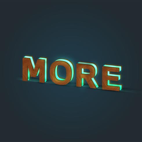 'MORE' - Illustration réaliste d'un mot en bois et verre brillant, vecteur