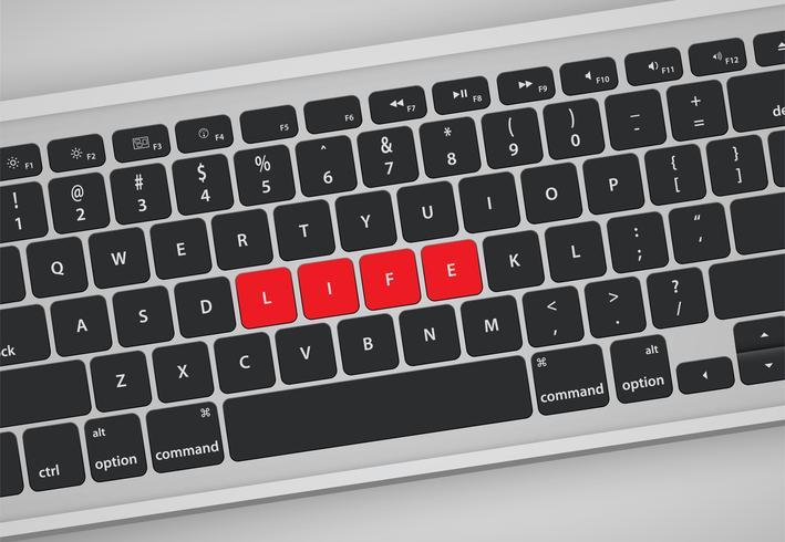 Letras no teclado formam uma palavra, ilustração vetorial