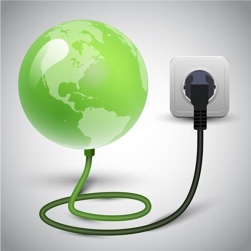 Ilustración vectorial de globo terráqueo con cable de alimentación