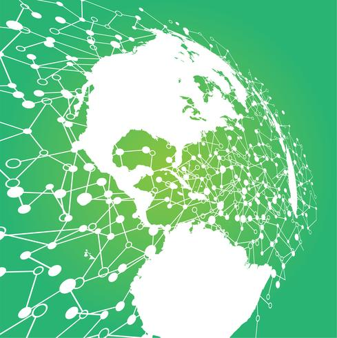 Mundo punteado con conexiones, ilustración vectorial vector