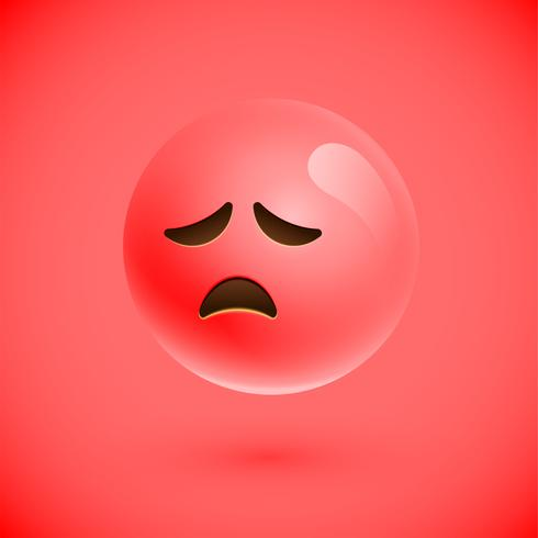 Emoticono realista rojo cara sonriente, ilustración vectorial vector
