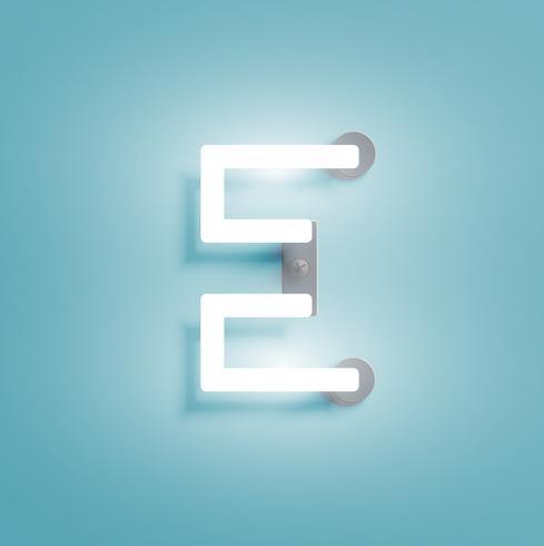 Carattere al neon realistico da un fontset, illustrazione vettoriale
