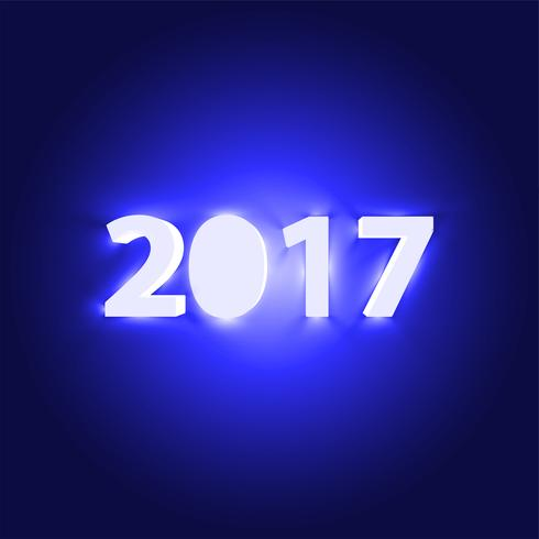 Segno brillante al neon 2017, illustrazione vettoriale