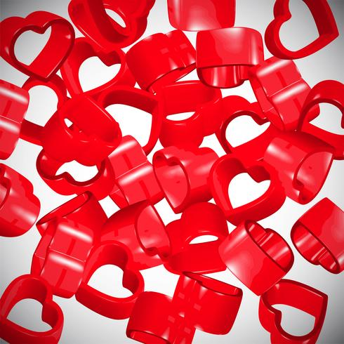 3D red hearts spreading, vector