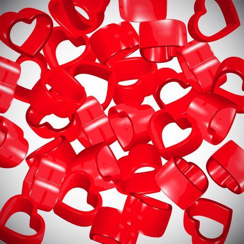 Corazones rojos 3D extendiéndose, vector