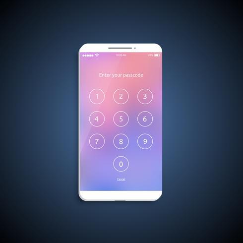 Eenvoudig en kleurrijk UI-oppervlak voor smartphones - Login-scherm, vectorillustratie
