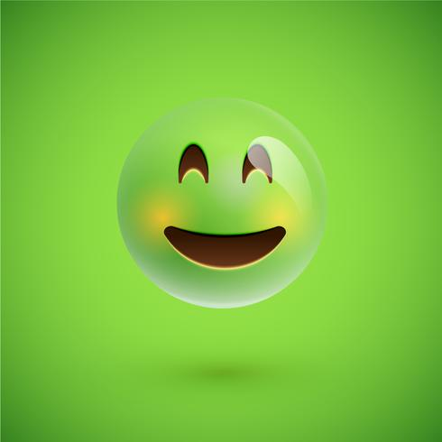 Green realistic emoticon smiley face, vector illustration
