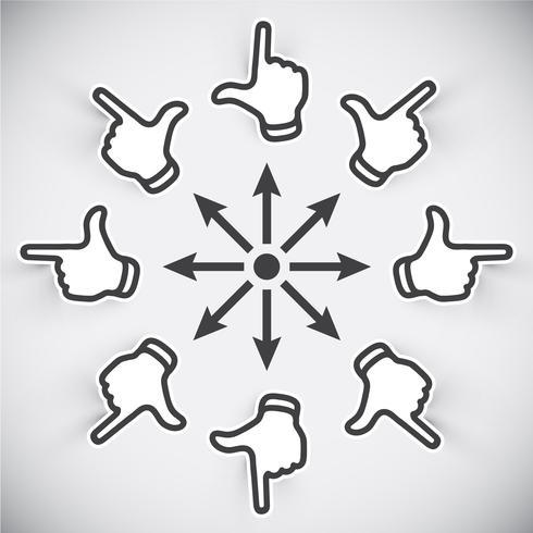 Huit main - huit direction, illustration vectorielle