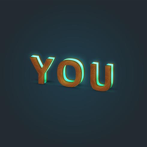 'TU' - Illustrazione realistica di una parola fatta da legno e vetro incandescente, vettore