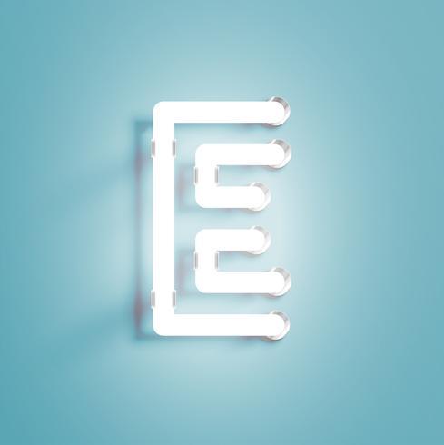 Personnage néon réaliste à partir d'un jeu de polices, illustration vectorielle