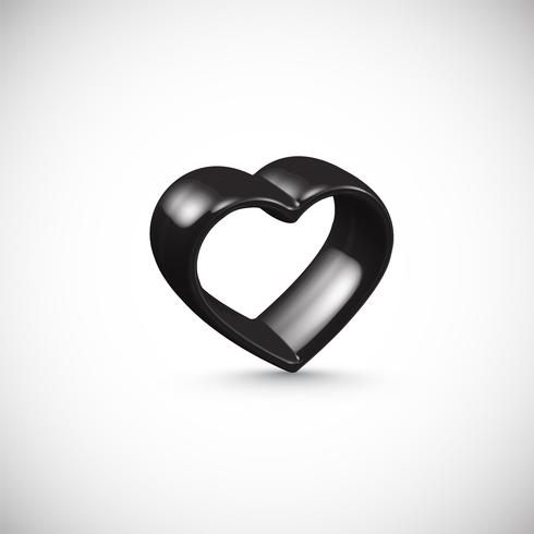 Black 3D heart frame, vector illustration