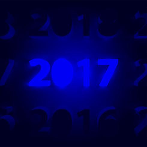 Neon 2017 lysande tecken, vektor illustration