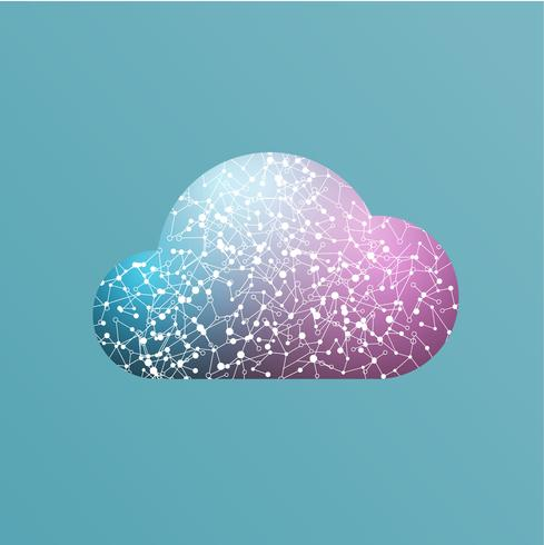 Colorful cloud icon with connections, vector illustration