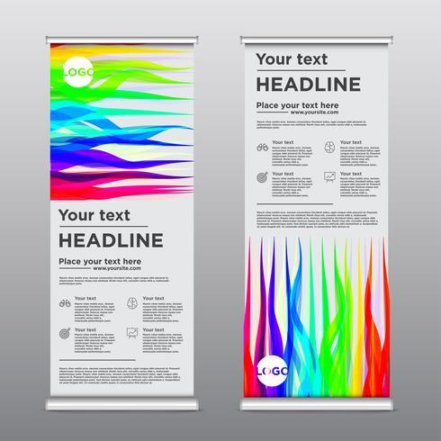 Folleto de diseño colorido rollup, ilustración vectorial vector