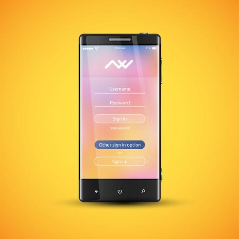 Einfache und bunte UI-Oberfläche für Smartphones - Anmeldebildschirm, Vektorillustration