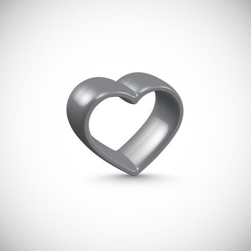 Marco gris del corazón 3D, ilustración vectorial