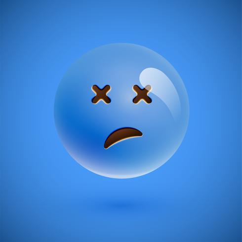 Blue realistic emoticon smiley face, vector illustration
