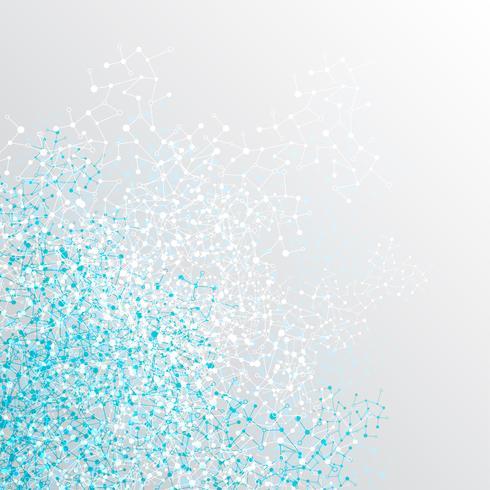 Fondo colorido poligonal abstracto con puntos y líneas conectadas, estructura de conexión, fondo futurista hud, ilustración vectorial