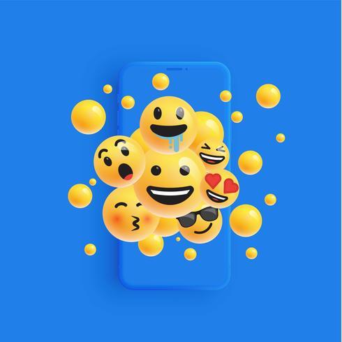 3D y diferentes tipos de emoticonos con smartphone mate, ilustración vectorial