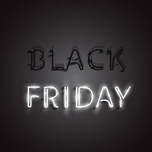 Realistico neon 'BLACK FRIDAY' segno, illustrazione vettoriale