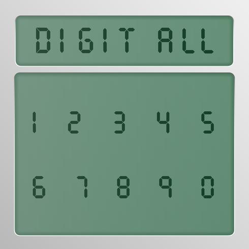 Digitaal karakter dat van een lettersoort op het scherm, vectorillustratie wordt geplaatst