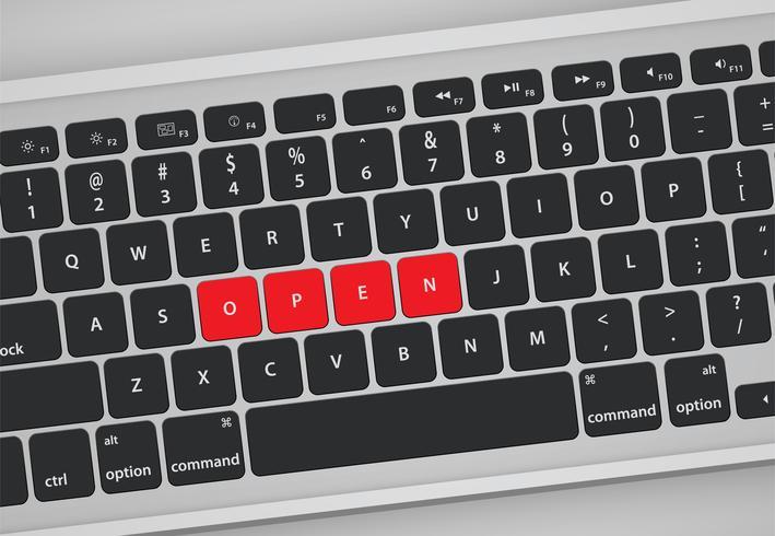 Brev på tangentbordet bild ett ord, vektor illustration