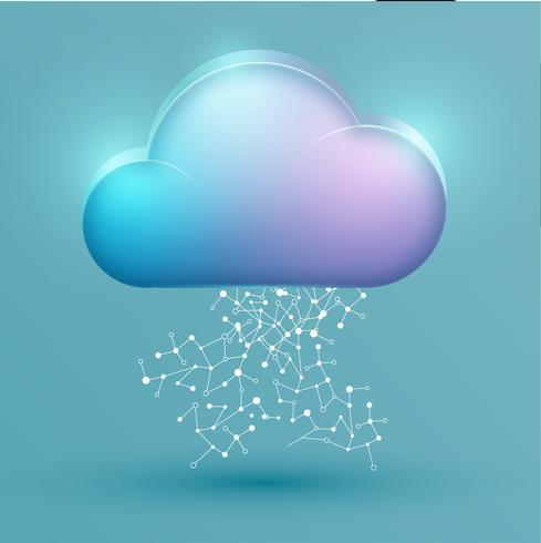 Kleurrijk wolkenpictogram met verbindingen, vectorillustratie vector