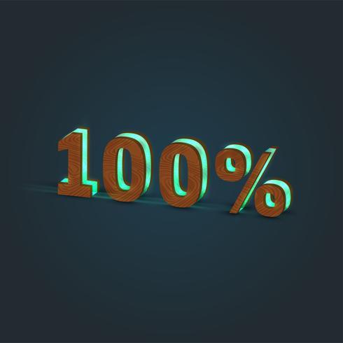 '100%' - Illustrazione realistica di una parola fatta da legno e vetro incandescente, vettore