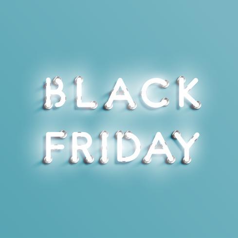 Signe de néon réaliste «vendredi noir», illustration vectorielle