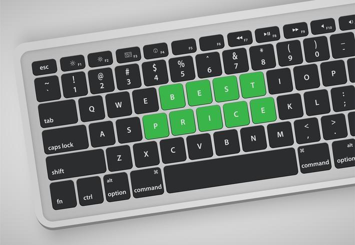 Las letras en el teclado forman una palabra, ilustración vectorial