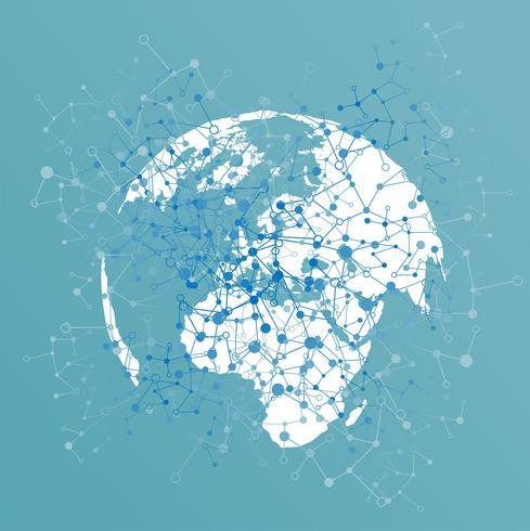 Punktierte Welt mit Verbindungen, Vektorillustration