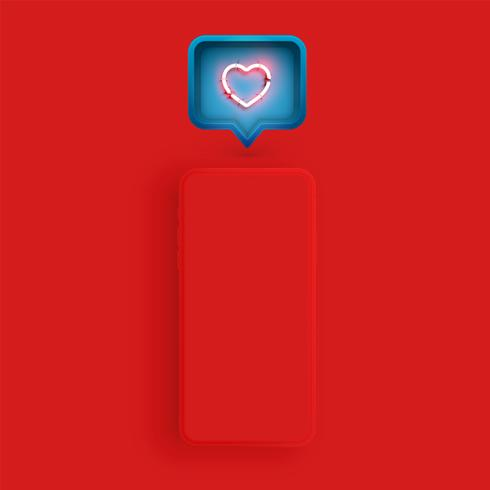 Matte smartphone template with a speech bubble and a neon heart inside, vector illustration