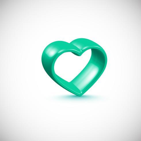 Herzrahmen des Türkises 3D, Vektorillustration