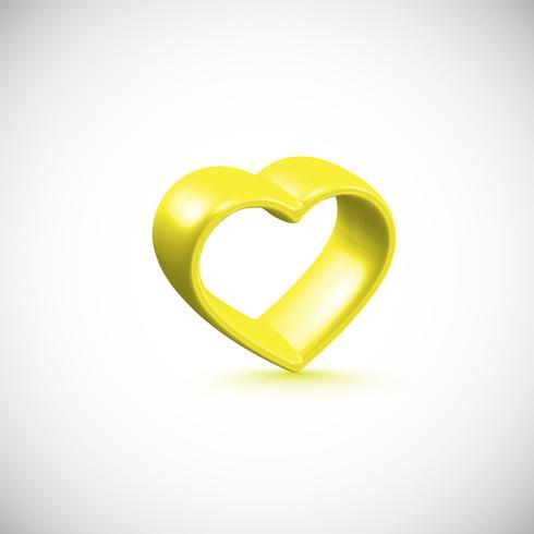 Marco de corazón amarillo 3D, ilustración vectorial