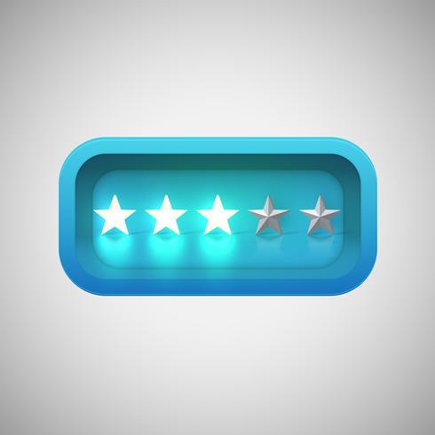 Calificación de estrellas azules brillantes en una caja brillante realista, ilustración vectorial vector