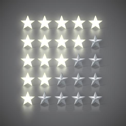 Star-rating set with 3D glowing stars and grey ones, vector illustration