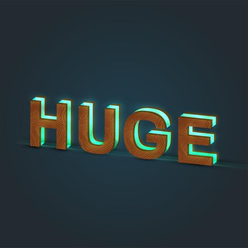 'HUGE' - Realistic illustration of a word made by wood and glowing glass, vector
