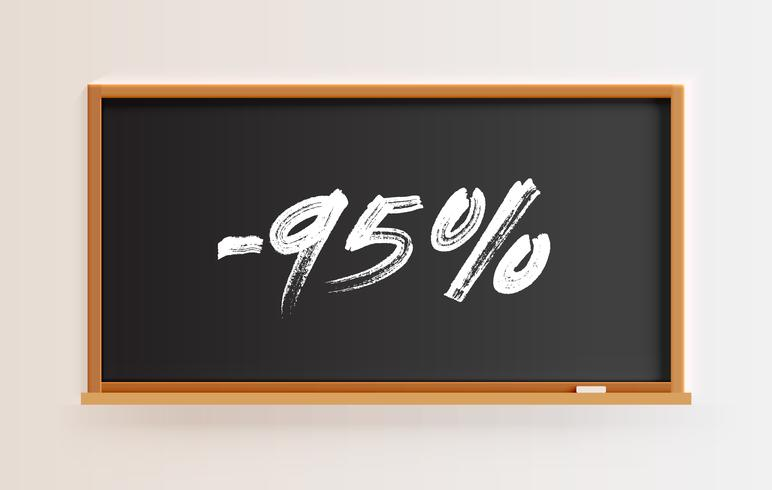 High detailed blackboard with '95%' title, vector illustration