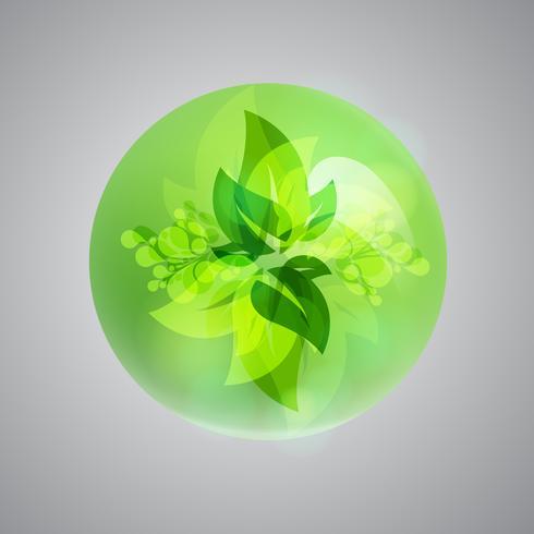Glänsande grön bubbla, vektor illustration