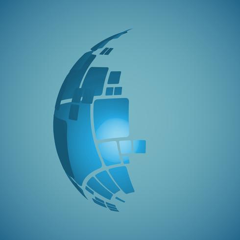 Ilustração do projeto do vetor do globo 3D para anunciar
