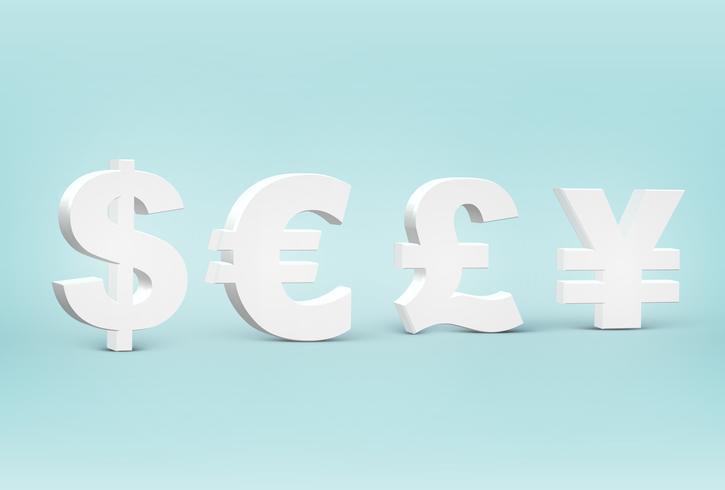 Hög detaljerade 3D-pengar teckenuppsättning, vektor illustration