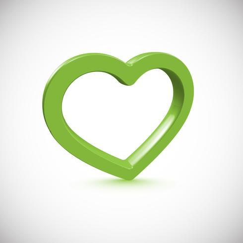 Marco verde del corazón 3D, ilustración vectorial