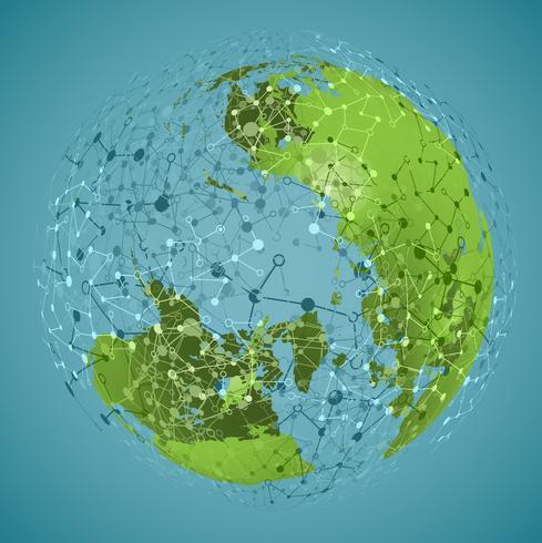 World globe on a blue background, vector illustration
